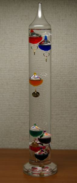 Zahlen Galilei Thermometer mit 4 Schwimmkörpern bunt – ohne Plomben